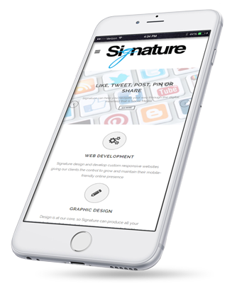 iPhone with Signature site showing