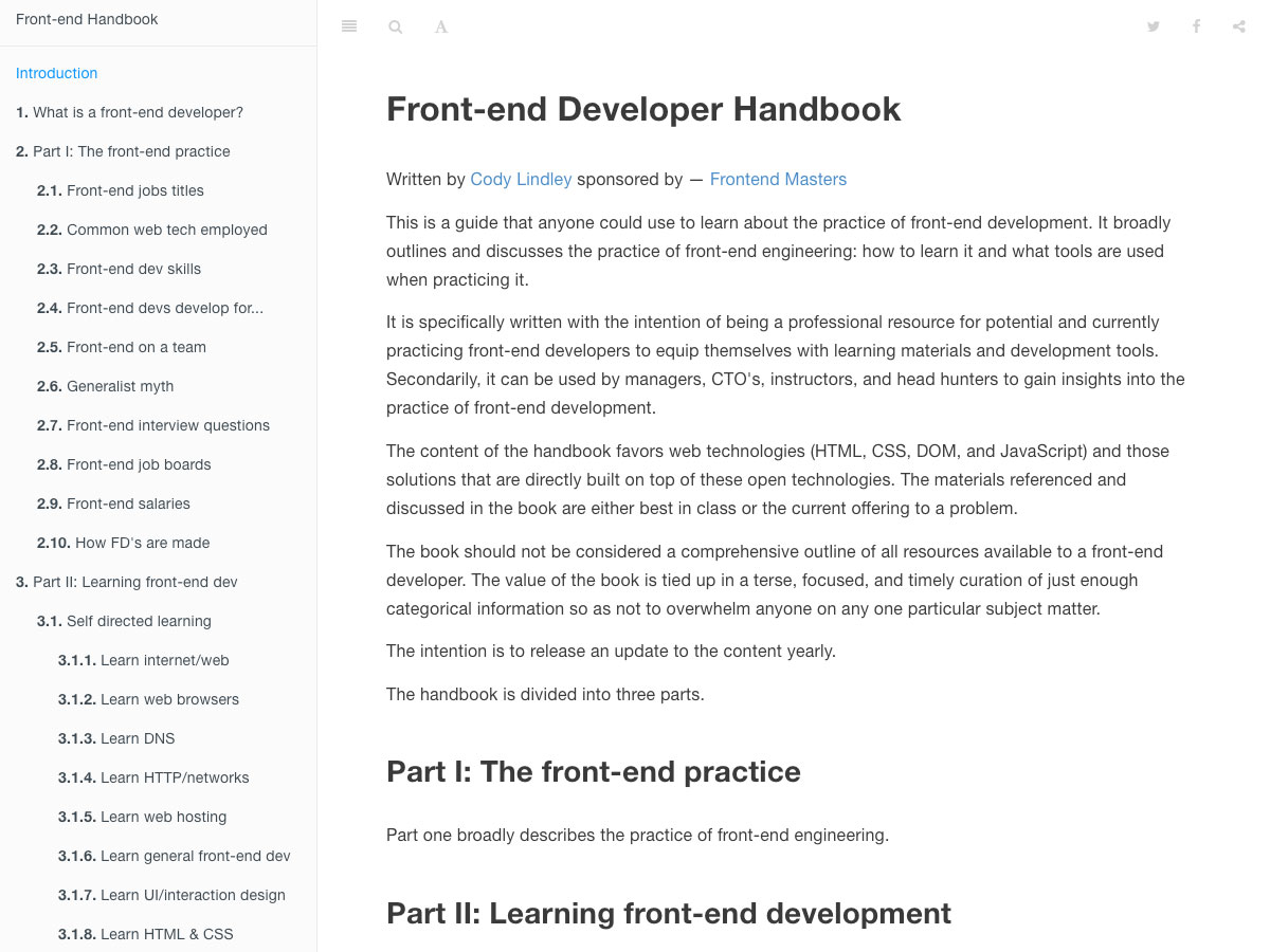 front end developer handbook